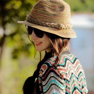 Strawhat sun-shading hat beach cap roll up hem formal dress cap summer female(China (Mainland))