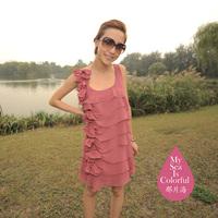 2012 fashion star elegant ruffle chiffon one-piece dress miniskirt