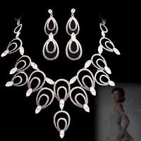 Bride wedding sets chain NEOGLORY purple rhinestone elegant luxury formal dress jewelry necklace set