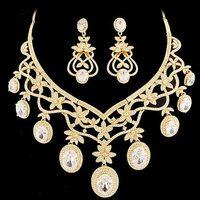 Wedding dress formal dress chain sets NEOGLORY gold zirconium  flower elegant luxury jewelry necklace set