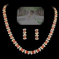 Bride wedding sets chain NEOGLORY 3 red zircon exquisite elegant evening party formal dress luxury jewelry necklace