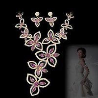 Bride wedding sets chain purple NEOGLORY zirconocene luxury elegant evening party formal dress jewelry necklace