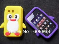 Cute Penguin Soft Silicon Back Skin Case Cover for Samsung Galaxy Y S5360 100pcs/lot