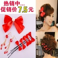 The bride accessories red bow hair accessory hair accessory crystal red earrings 8 piece set