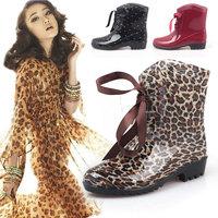 Overstrung rain boots rainboots female fashion transparent rain boots rubber shoes women's waterproof knee-high leopard print