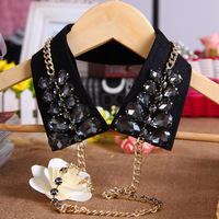 Summer crystal chain false collar female black lace diamond