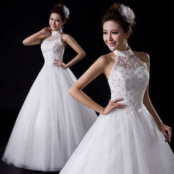 2013 halter-neck lace strap wedding qi diamond tube top handmade diamond decoration wedding dress