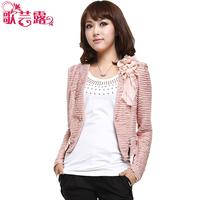 2013 spring women's gentlewomen slim short jacket coat vest twinset female