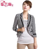 2013 spring stripe slim small suit jacket women female