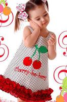 2013 New summer Girl Cherry little Dress  for Free shipping