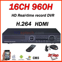 16CH 960H HDMI Port Stand-alone DVR with 2T HDD , 16 CH CCTV system , support 5 pcs HDD
