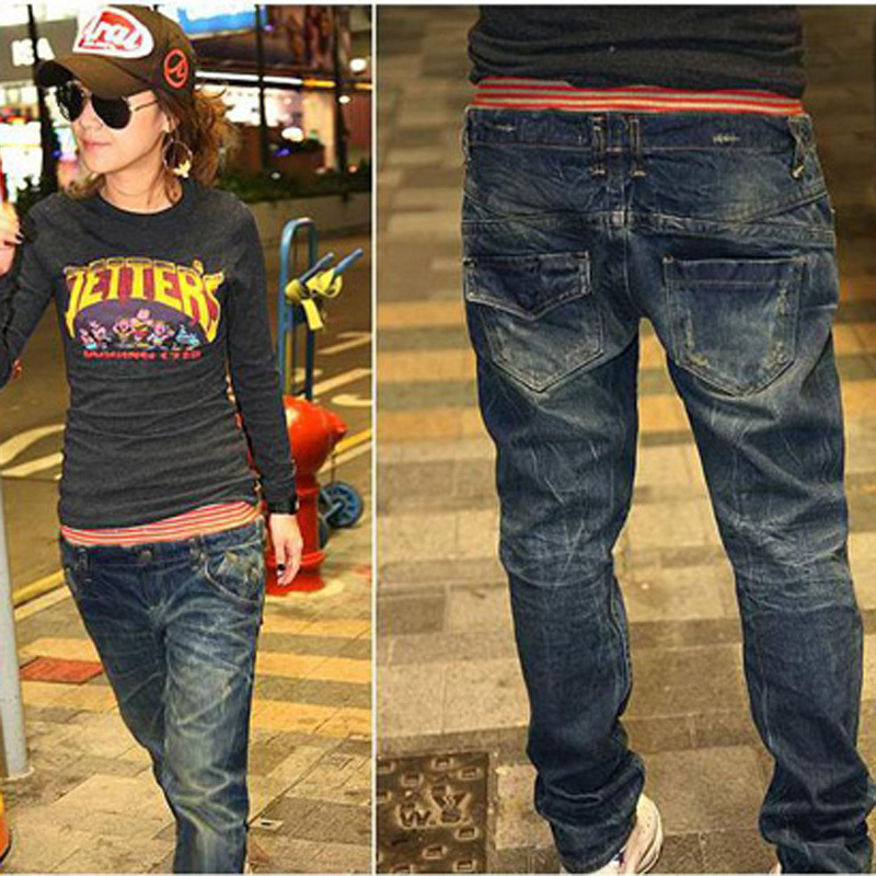 Free shipping!2013 Casual Nice women's simple style red edge leisure jeans loose jeans pants Waitting for what?Just click(China (Mainland))