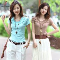 Topfriday summer short-sleeve fashion t-shirt female short-sleeve slim ruffle hem o-neck basic top