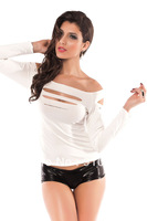 Promotion! Free Shipping White Long Sleeve Women T Shirt Fashion Clubwear Tops Hole Design Sexy Women t-shirts 25057