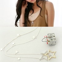 Fashion Sweet Hollow Crystal Rhinestone Star Dangling Long Chain Necklace A1070