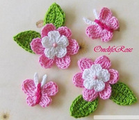 Handmade cotton Rose flower with two leaves and beautiful butterfly