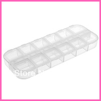 New1pcs 12 Cells Little Item Pill Nail Art Storage Case Glitter Gems Decoration Box free shipping