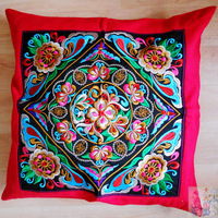 National embroidery trend hot fixed pillow cover cushion cover sofa cushion cover vintage hand-woven cloth cushion cover