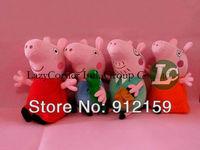 Retail 4pcs/ set Hard Wash 30cm Peppa Pig & George Pig Plush Mom & Daddy Large Size Cute Kids Toddler Toys Baby Toys Best Gift
