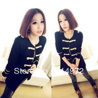 Best selling!!Western Style Gold Button women Sweater Coat Black vintage outerwear female jacket free shipping