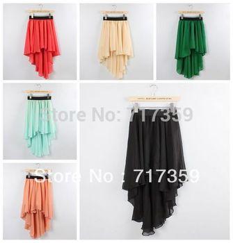 1pc Free Shipping Women Sexy Elegant Asymmetric Chiffon Long Maxi Skirt Chiffon Skirts Elastic Waist AY650999