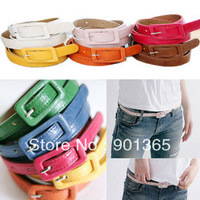 New Fashion Women's Cute Nice Candy color PU leather Thin Belt