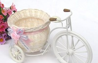 rattan tricycle bandwagon vase, receiver flower set home decoration ,Floral organ ,handmade rattan vase ,free shipping