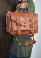 Soft real leather (cowskin) & Vintage design woman big satchel bag / casual shoulder bag with bronze hardware(B0415)