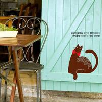 Itie wall stickers belt bow tie cat desk kitchen cabinet glass door stickers wall stickers d002
