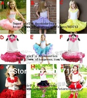 Children Baby Girls Ribbon Pettiskirt  tutu Set Ruffle TUTU  Dress with  five flower  Tops Dancing Dress Freeshiping MOQ 1SET