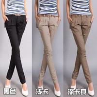 2013 casual design long pencil pants pants straight harem pants send strap