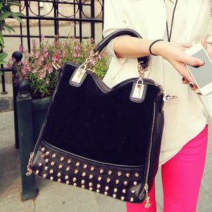 Free shipping Hot sale 2013new female bag rivet package stitching flannel bag shoulder bag fashion handbag Rivet Studded Handbag
