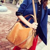 Free shipping Hot sale 2012 fashion bag chain patchwork shoulder bag handbag messenger bag women's handbag
