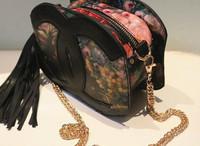 Hot sale  Korea Fashion!  2013 women lady's handbag Vintage preppy style flower oil painting bag,shoulder bag,Europe Pop