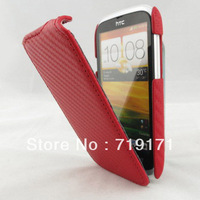 1pcs/lot free ship New Carbon style Leather Case for HTC Desire V T328W   +1pcs film