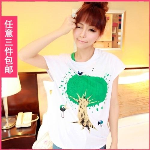 Mushroom clothes juniors clothing spring 2013 big tree plus size loose short-sleeve T-shirt honey sisters equipment(China (Mainland))