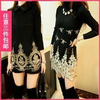 Mushroom women's 2013 winter turtleneck fur collar embroidery gauze slim sweater female long-sleeve basic shirt