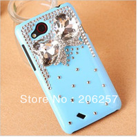 Pink crystal case for HTC T328D diamonds case