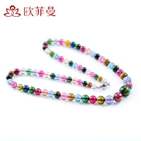 Crystal natural tourmaline necklace Women chain bxe-001