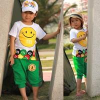 5 sets /lot  2013 Summer Short Sleeve Children Kids Clothing Boys Girls Cothing Set Smile Design AA5226
