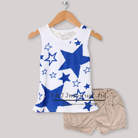 Wholesale Kids Summer Clothing Set Sleeveless Girls Blue Stars TShirt And Gray Pants Children Wear Infant ClothingCS30301-04^^EI