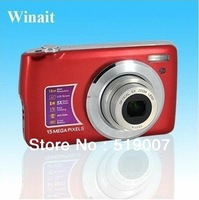 "Free shipping ,15 MP MAX/2.7"" TFT LCD digital camera with 3X optical zoom,4X digital zoom"