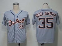 Free Shipping,Wholesale & Retail Baseball Jersey,#35 Justin Verlander Jersey,Embroidery and Sewing Logos,Size M--3XL