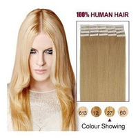 "27# strawberry blonde/honey blonde   20 pcs per pack Tape Hair Extensions 16""18""20""22""24"" Straight human hair"