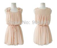 Women Fashion Sexy Bandage Halter Ruffles Chiffon O-Neck Summer Dress Tank Skirt