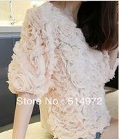Best selling!!women big flower chiffon half sleeve T-shirt female clothes free shipping