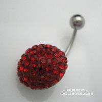 Fashion cute exquisite titanium umbilical ring umbilical nail navel button full rhinestone navel piercing jewelry
