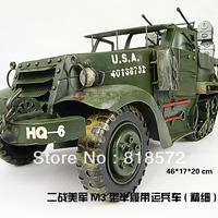 Handmade metal car model-World War II US military M3 half track troop carriers-Vintage car model,Home decoration ,Crafts,Gifts