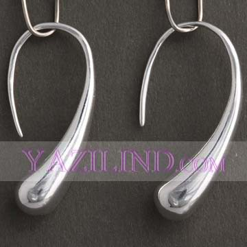 Lot 5 Vintage Style Silver Plated Teardrop Moon Hook Design Hoop Loop Fashion Earrings Yazilind(China (Mainland))