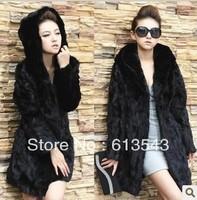 New plush velvet coat hair fashion dress Faux  Fur Collar fake fur coat Fur coats for women Leopard fur in the long